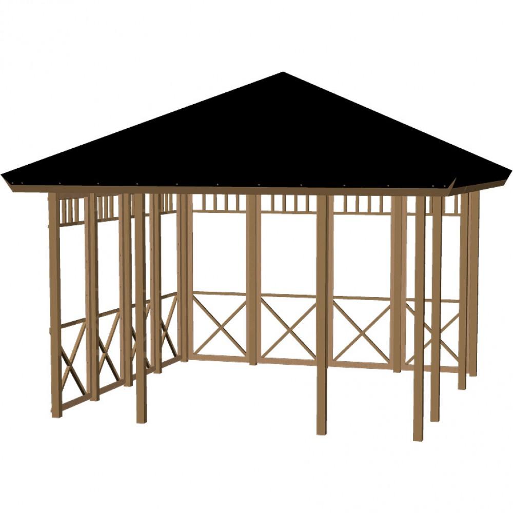 Pavillon med glas, halvåben B-01