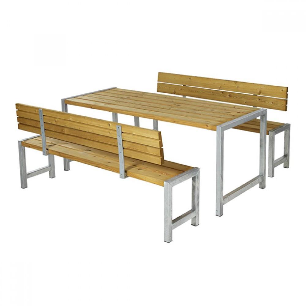 Planke bord-bænkesæt, lærk, to ryglæn-31