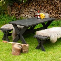 Nostalgi plankebord med 2 bænke, sort-20