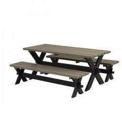 Nostalgi plankebord med 2 bænke, gråbrun og sort-20