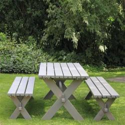 Nostalgi plankebord med 2 bænke, gråbrun-20