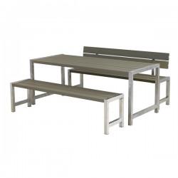Planke bord-bænkesæt, gråbrun, et ryglæn-20