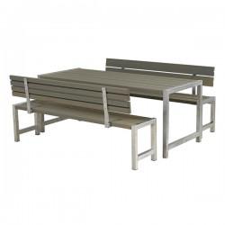 Planke bord-bænkesæt, gråbrun, to ryglæn-20
