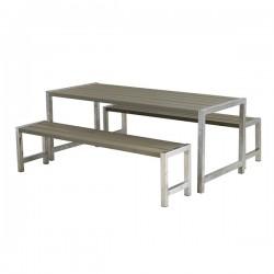 Planke bord-bænkesæt, gråbrun-20