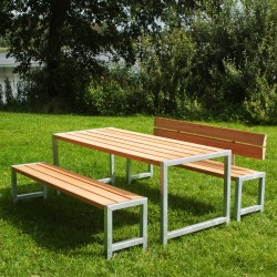 Planke bord-bænkesæt, lærk, et ryglæn-20