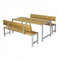 Planke bord-bænkesæt, lærk, to ryglæn-20