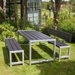 Planke bord-bænkesæt, sort, et ryglæn-20