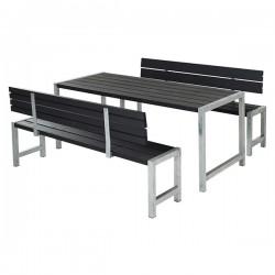 Planke bord-bænkesæt, sort, to ryglæn-20