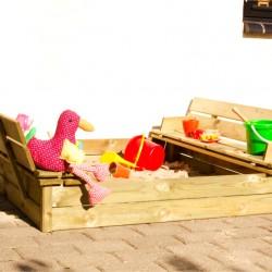 Sandkasse med ryglæn 120x120 cm-20