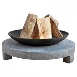 Bålfad i støbejern med rund granitfod